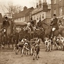 Photo:The local hunt, meeting outside the Crown Hotel. Picture is pre-1922, as the oast house in the background (Lukers Brewery) was demolished then