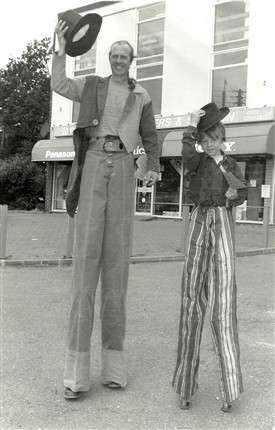 Photo:Hockley Centenary Fun Day - Doc Spinoff and son Fred, age 7, stiltwalking