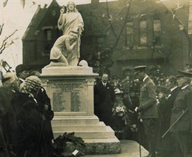 Photo:The unveiling of the St Michael's War Memorial, St Leonards Road, Poplar (A R Adams to the immediate right of the memorial)